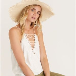 WAYF Posie Strappy Crochet Lace Camisole in Ivory